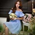 Dabuwawa cielo azul organza del hombro vestido