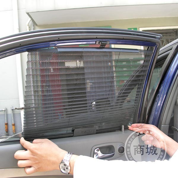 1PAIR  Automatic Retractable Side Window Car Curtain Sun-shading Curtain Stoopable Automatic Blinds Free Shipping
