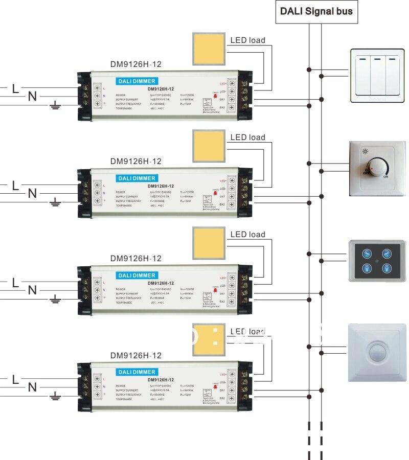 gratis verzending 0 10 v triac dali led dimmer en led driver 1 kanaal input ac50 aan 220 v max 200 w model dm9119h 200 w serie in gratis verzending
