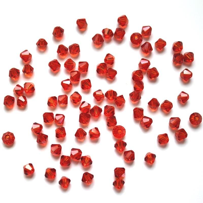 TianBo красный цвет 4 мм 100 шт. Bicone Австрия граненый кристалл стекло бусины Свободные Spacer Jet Siam бусины для изготовления ювелирных изделий