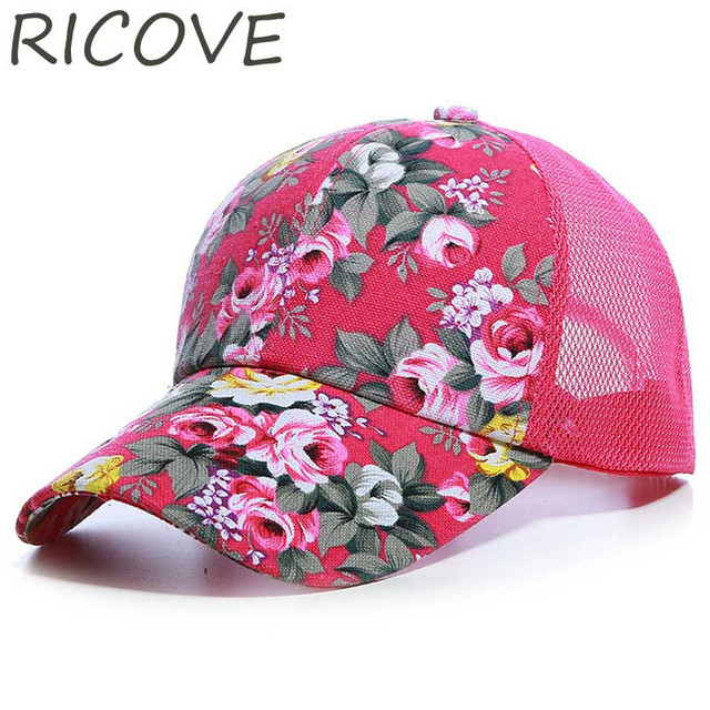 d3d9f56c8f0 New Trucker Cap Mesh Baseball Caps Women Floral Print Summer Hat Fashion  Outdoor Sports Running Cotton Hats For Girls Adjustable