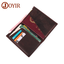 JOYIR Genuine Leather Passport Wallet Men Crzay Horse Travel Cover Card Holder Multifunction