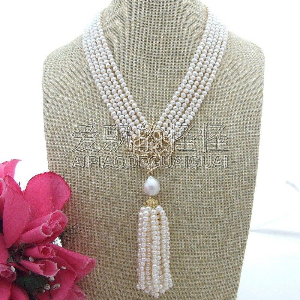 N071905 18 -22 5 brins collier de perles rondes blanches Cz Pave pendentifN071905 18 -22 5 brins collier de perles rondes blanches Cz Pave pendentif