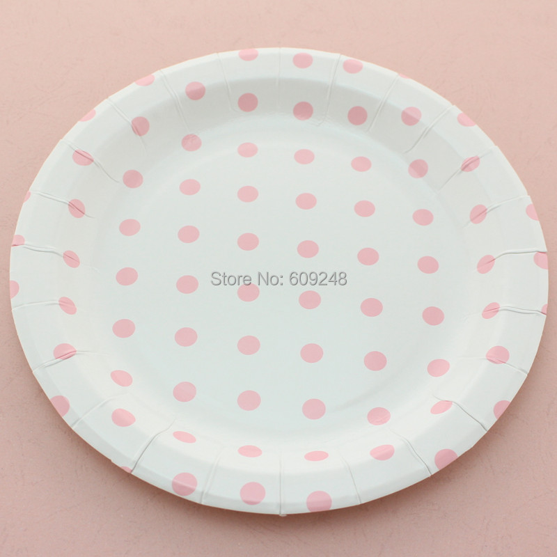 pink polka dot paper plates Pink polka dot & chevron tableware includes pink polka dot paper plates, chevron napkins, and more pink tableware is great for any occasion.
