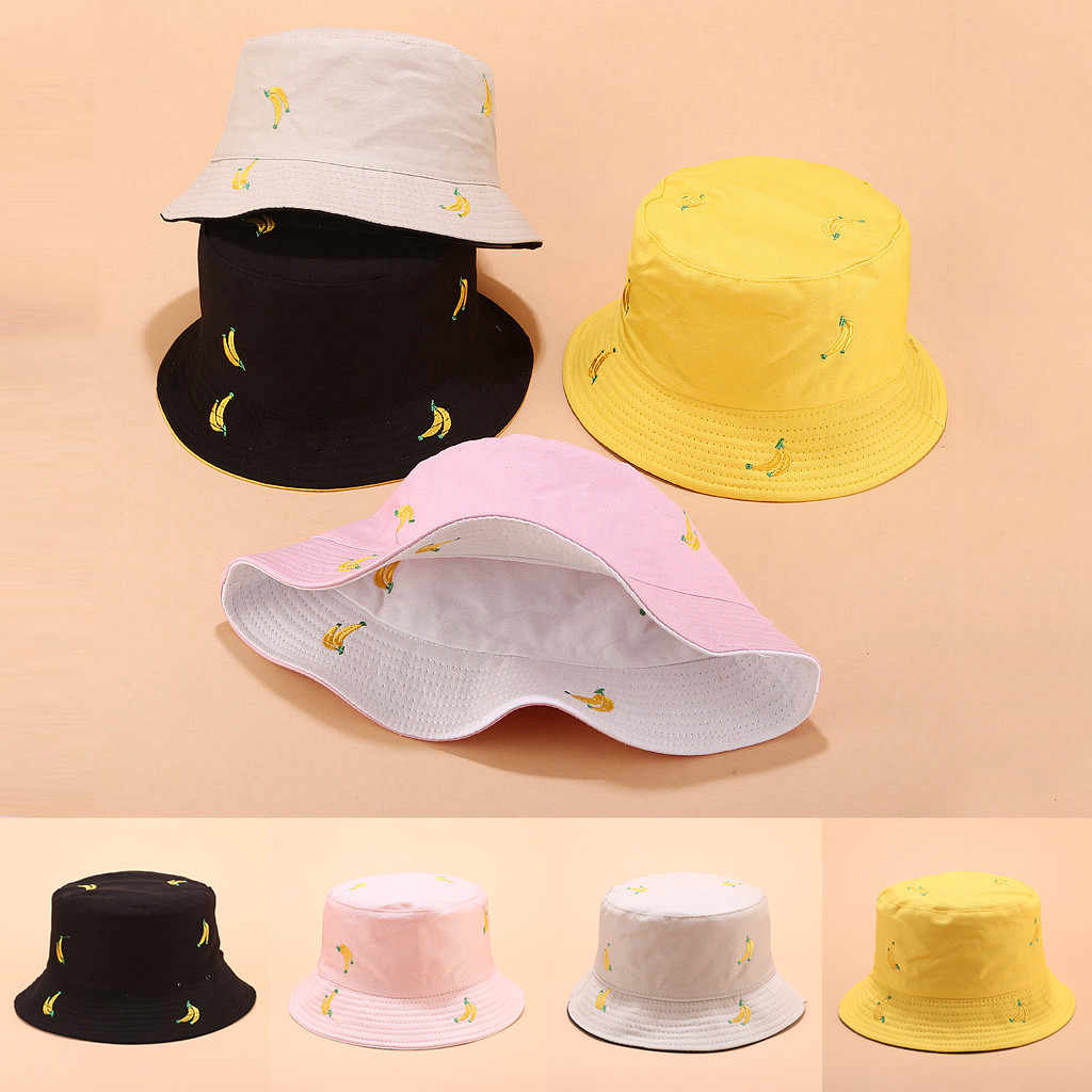 Hawcoar Unisex New Fashion Outdoor Printing Wearing Summer Visor Folding Fishing Bucket Hat Double-sided Wearable панама Z5