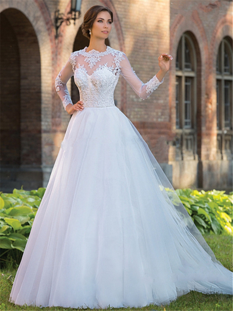 Open back long sleeve wedding dress lace a line 2015 hot for A line lace open back wedding dress