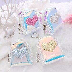 Случайный цвет флэш сердце Кошелек для монет Лазерная маленькая сумка голографическая женская ПВХ прозрачная сумочка девушка держатель дл...