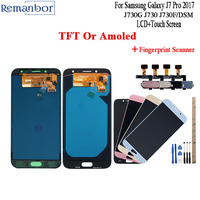 Remanbor For Samsung Galaxy J7 Pro 2017 LCD J730 J730F LCD Display Touch Screen Amoled +Tools With Scanner Adjustable Brightness