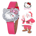 Funny Cute Kids Hello Kitty Cat Fashion Women Wristwatch Hour Christmas Watch for Children  Lady Child Girl Dress Causal Quartz