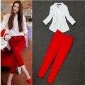 2 peça set mulheres Com Decote Em V OL Blusas Camisa Chiffon Branco blusa + vermelho Calças lápis calças Slim roupas femininas set free grátis