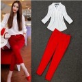 2 piece set women V-Neck OL Chiffon Shirt Blusas White Blouse +red pencil Trousers Slim pants women clothing set free shipping