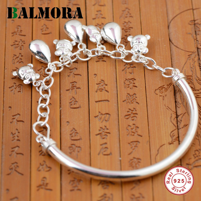 BALMORA Solid 925 Sterling Silver Water Drop Charms Bangles for Women Lover Gift Delicate Silver Jewelry Accessories SZ0100 usb led makeup mirror maquiagem double sided wireless charge for phone led touch screen amplifier make up mirror cosmetics tool