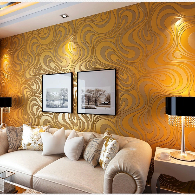 Simple 3D, gold, non-woven wallpaper, personality abstract stripes wallpaper KTV bar bedroom living room background wall popular large mural personality abstract modern art wallpaper sofa background ship nostalgia non woven wallpaper bedroom