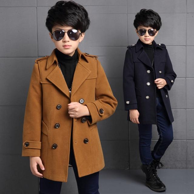 d49914d61b8a Korean Boys Wool Winter Coat England Style Kids Thick Outerwear ...