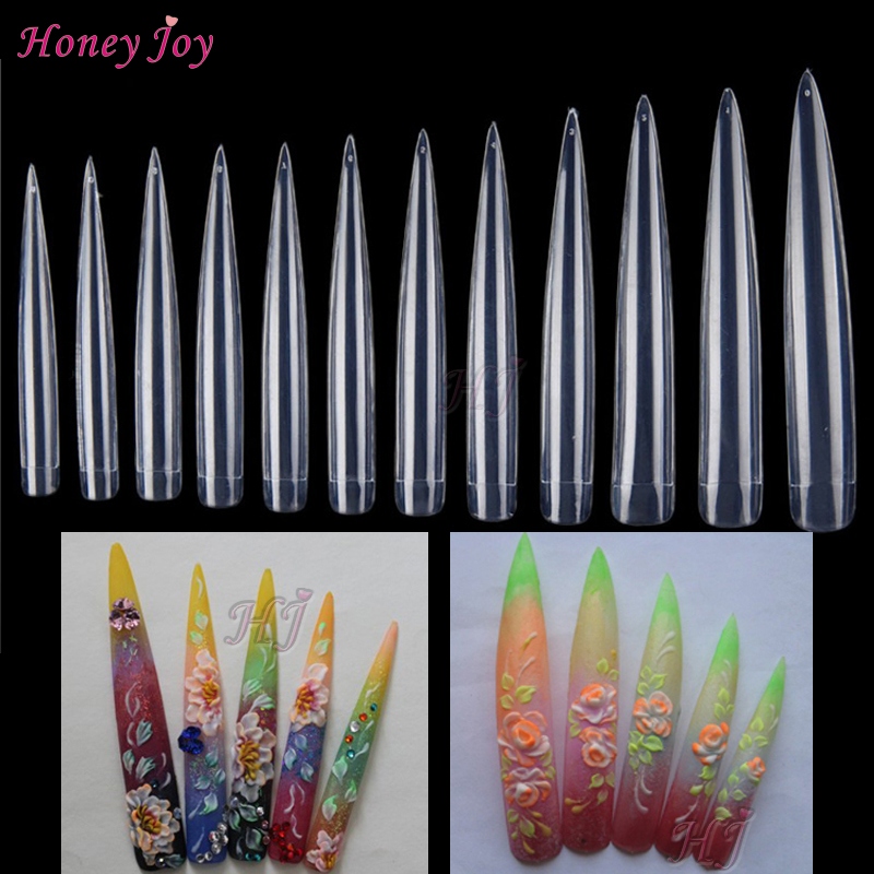36pcs/lot Extra Long Stiletto Tips Half Cover Natural Clear White ...