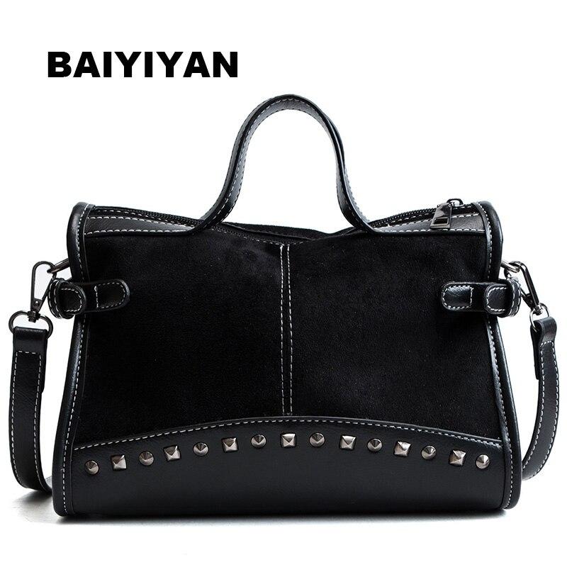 New Casual Women Leopard Tote Bags Vintage High Quality Shopping Bag Shoulder Bag Rivet Boston Handbag