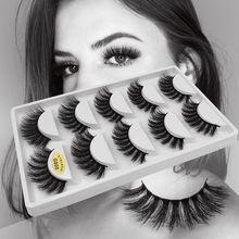 Cílios postiços de vison 3d com 5 pares, cílios grossos e com volume natural, macios para maquiagem