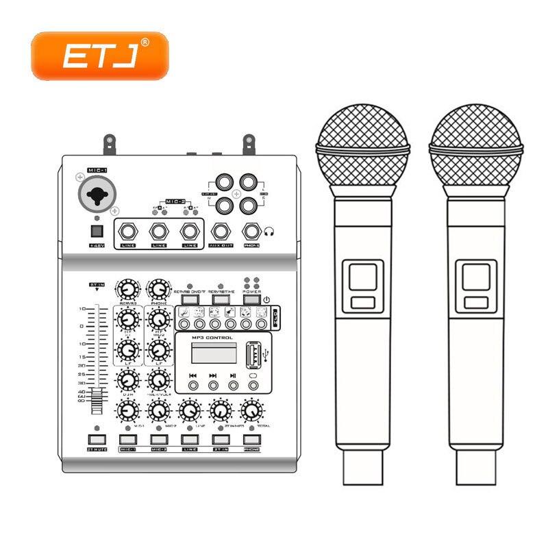 UHF Wireless Microphone Audio Mixer USB 2 Handheld Transmitter Multi-Function 48V Phantom KTV Dual Microphones Two-In-OneUHF Wireless Microphone Audio Mixer USB 2 Handheld Transmitter Multi-Function 48V Phantom KTV Dual Microphones Two-In-One