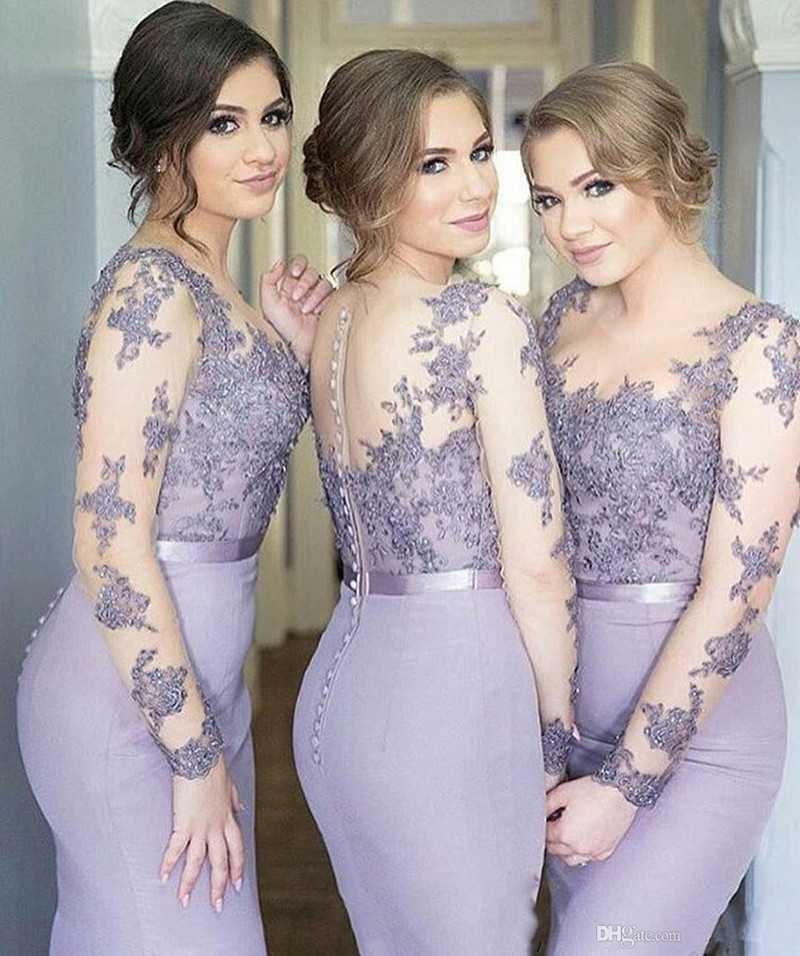 Holievery Sheer Scoop Neck Elastic Satin Mermaid   Bridesmaid     Dresses   with Lace embroidery 2019 Long Sleeves Formal Party   Dress