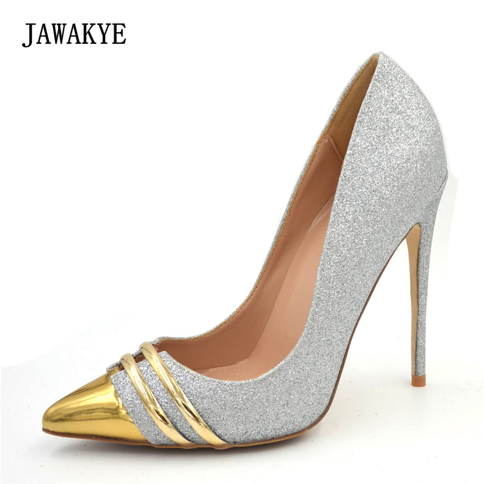 JAWAKYE Gold Pointy Toe Sexy Women Pumps Sexy two Lines Extreme high heels Shoes Silver Shiny Wedding Party Shoes