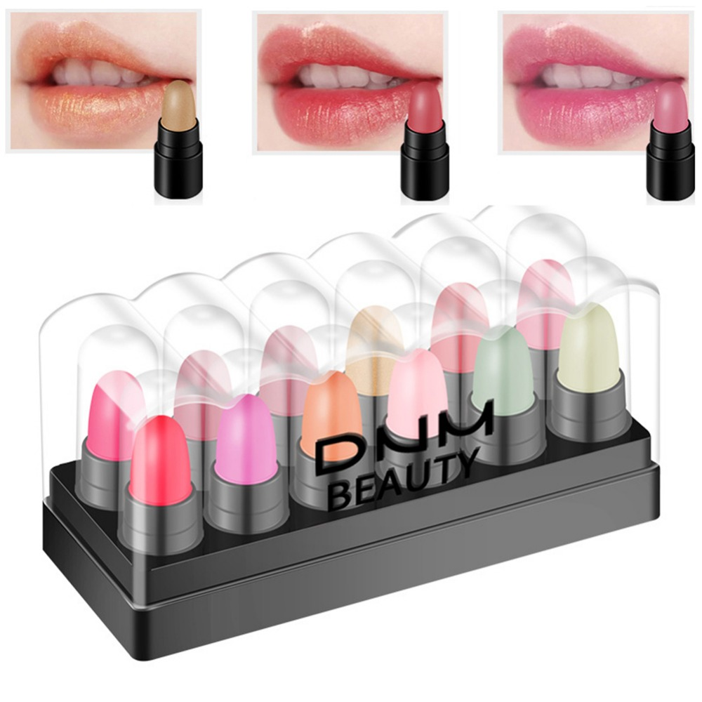 12Pcs Mini <font><b>Lipstick</b></font> <font><b>Set</b></font> Waterproof Non-Stick Cup Jelly Change Color <font><b>Lipstick</b></font> <font><b>Matte</b></font> <font><b>Lipstick</b></font> Lip Balm Kit image