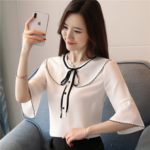 Female Blouses Flare Sleeve Peter Pan Collar Blusas Half Sleeve Shirt Bow Women's Casual Clothing Solid 2018 Summer Tops S6637