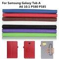 Официальный Оригинал Настоящее Кожаный Чехол Для Samsung Galaxy Tab A A6 10.1 P580 P585 Cover funda случаи Смарт Обложка shell + Пленка + ручка + OTG