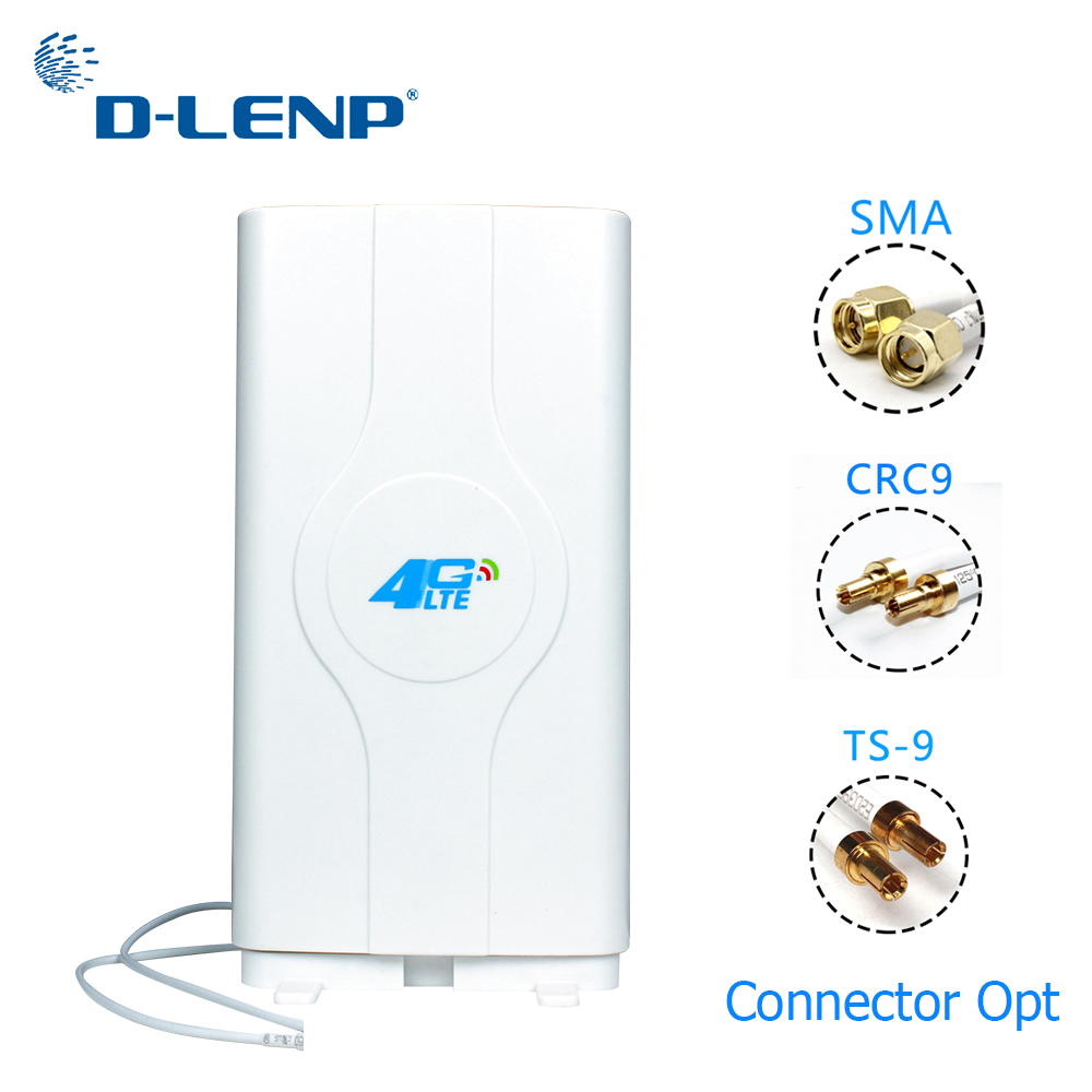 Dlenp 4G LTE MIMO Antenna 700-2600Mhz With 2- TS9/ CRC9/ SMA Male Connectors Booster Panel Antenna With 2M Cable 88dBi