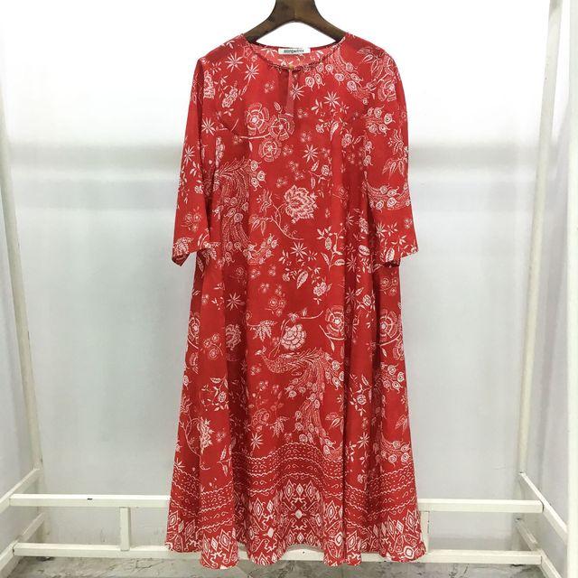 2019 Spring New Women's High End Luxury Elegant 100% Real Silk Printed Dress Red Half Sleeve Silk Red Mid Dresses