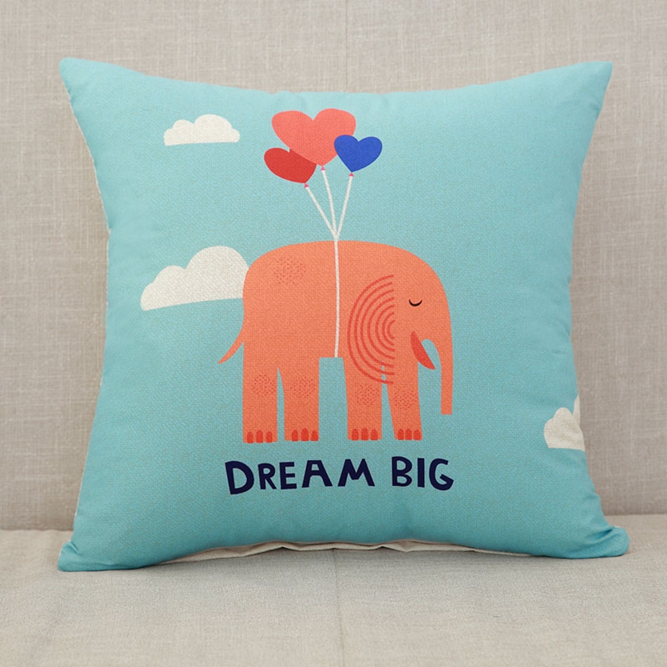 online get cheap decorative pillows kids aliexpresscom  alibaba  - blue square cushion cartoon elephant patterns  polyester decorativepillows for sofa cheap and fashionable presents for kids