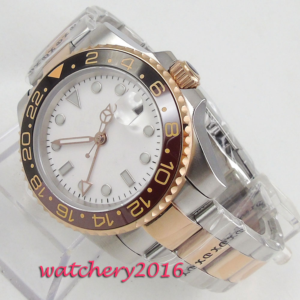 40mm PARNIS White Dial Sapphire Glass GMT Rotating Ceramic Bezel Date Window Steel Case Super LUME Automatic Movement mens Watch 40mm parnis white dial vintage automatic movement mens watch p25