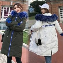 New Hooded Parkas Womens Thickening Outerwear Slim Down Cotton Coat Female 2018 New Long Fur Collar Winter Jacket for Women цена в Москве и Питере