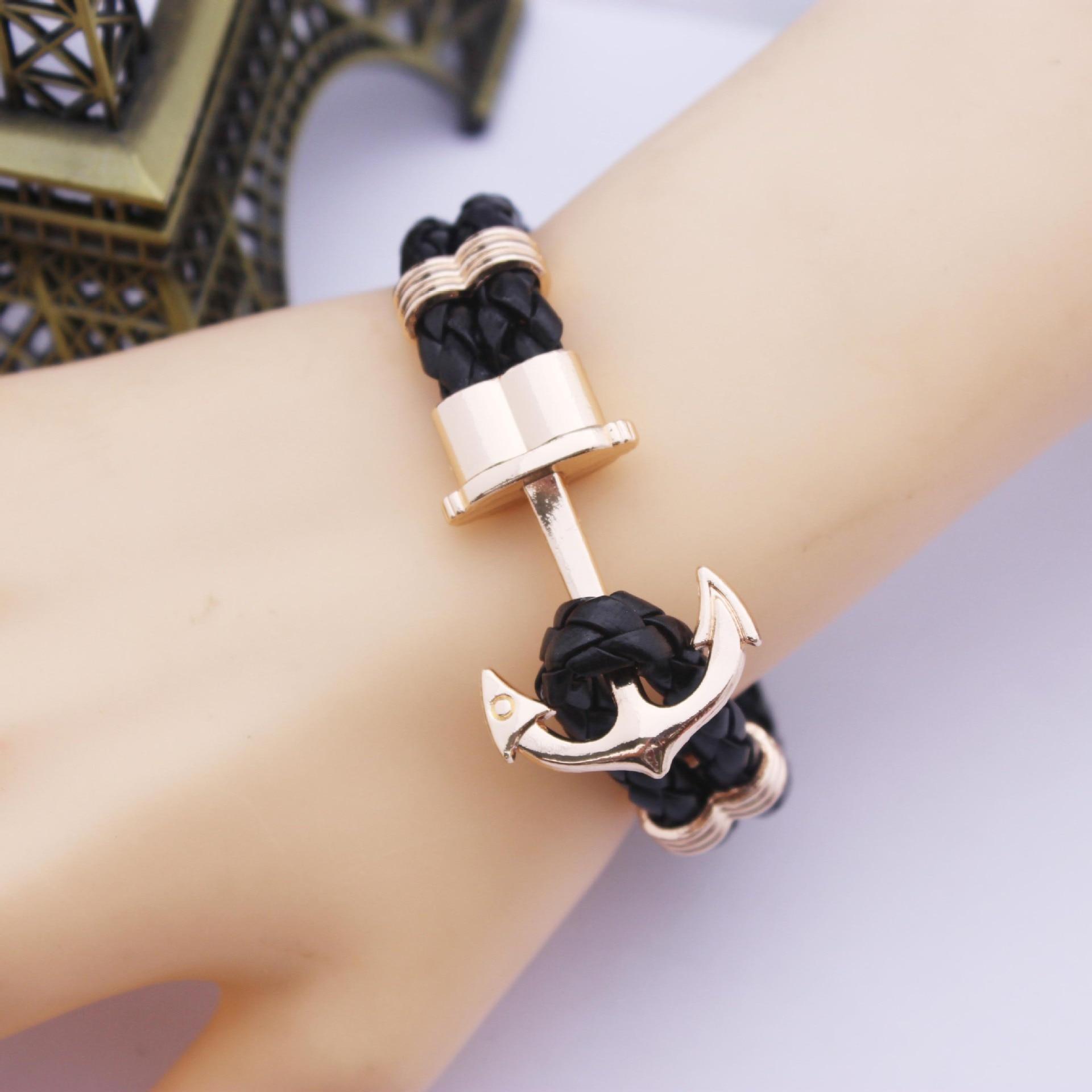 2016 Fashion Punk Leather Bracelet Men Gold Anchor Bracelet Christmas Gift tom  Hope Friendship Feme Bracelets