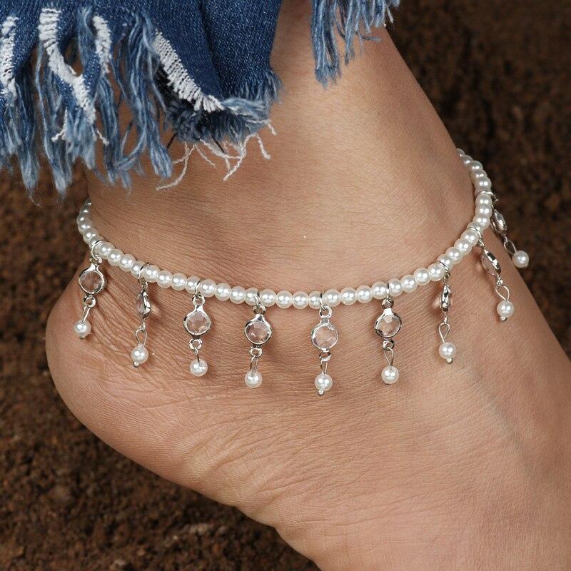96dc1989f Tenande Jóias Verão Elásticas Pérola Tornozeleiras para As Mulheres de Prata  de Ouro Cor Cristal Pérola