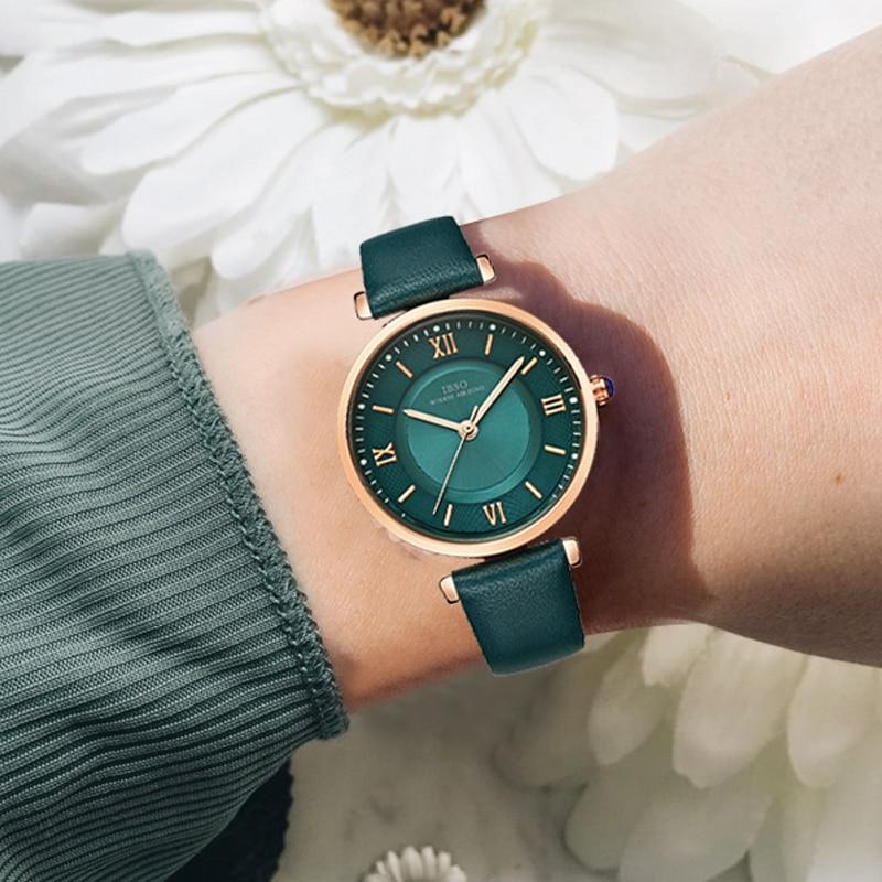 IBSO New Brand Women Watches 2020 Green Genuine Leather Strap Reloj Mujer Luxury Quartz Ladies Watch Women Montre Femme