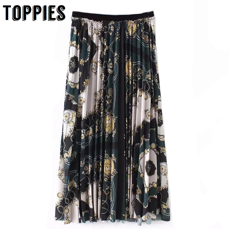 2019 Spring Summer Printed Retro Vintage Pleated Skirt Elastic Waist Print Long Skirt