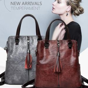 Image 3 - Fashion Tassel Womens Backpack Multifunction Backpacks for Women Large Capacity School Bag for Girls Leather backpack female