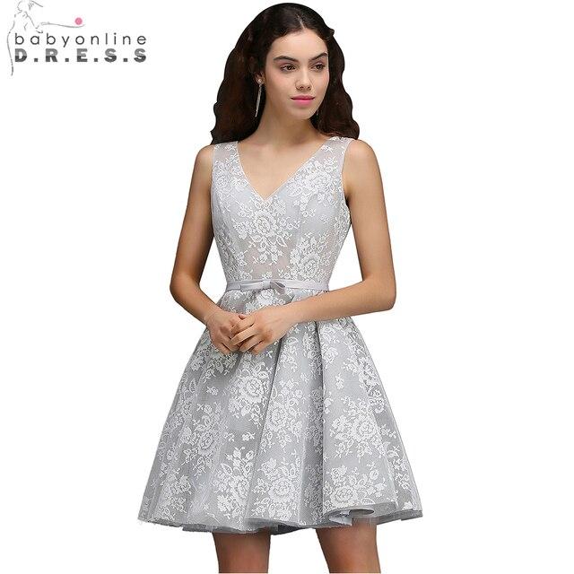 d01cdb35acd Babyonline Sexy V-Neck Lace Short Homecoming Dresses 2017 A-Line Party  Dresses Graduation Dress vestido de festa curto