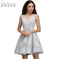 Babyonline Sexy V Neck Lace Short Homecoming Dresses 2017 A Line Party Dresses Graduation Dress Vestido