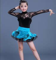 Newest style Sexy Lace girls Ballroom Dresses Tango Salsa Latin Dance Dress Children black lace with sky blue dress for girls