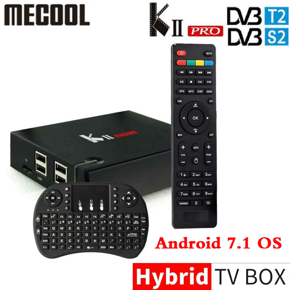 DVB-S2/T2 Mecool KII PRO Android 7.1 TV Box Amlogic S905D K2 PRO QuadCore 2G16G 4 k Soutien CCCAM NEWCAMD Double Wifi BT4.0