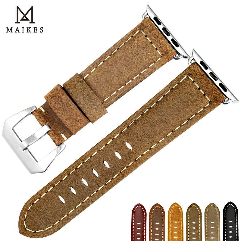 MAIKES New vintage nubuck leather Watch Strap wristband bracelet For Apple Watch Band 42mm 38mm Silver buckle iwatch watchband maikes new design gunuine leather watch strap bracelet vintage greasedleather for apple watch band 42mm 38mm iwatch watchband