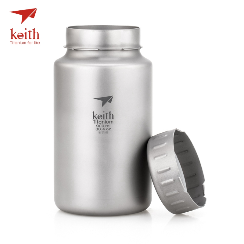 Keith Titanium Bottle Large Capacity Non-threaded Kettle With Kettle Bag 900ml 1200ml keith ti5338 ultralight titanium bowl with large capacity 900ml