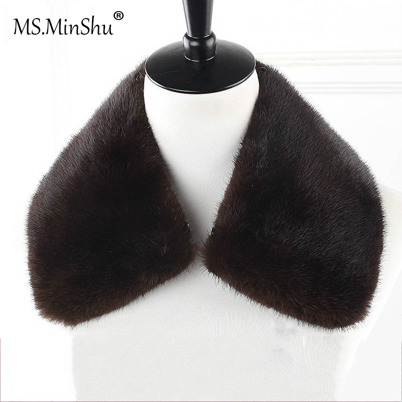 Ms.MinShu Genuine Mink Fur Collar Detachable Real Fur Collar For Men Jacket Natural Mink Fur Trim Neck Warmer Custom Made