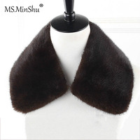 Ms.MinShu Genuine Mink Fur Collar Detachable Real Fur Collar For Men Jacket Natural Mink Fur Trim Neck Warmer Custom Made
