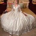Большие Свадебные Платья 3/4 Рукавом V-образным Вырезом Бальное платье Атласная Аппликация Бисероплетение Бинты Абая Женщины Свадебные Платья На Заказ Плюс Размер