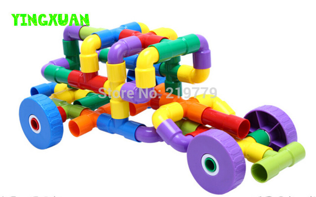 46pcs/set Multicolor Kids Plastic Tunnel Water Pipe Building Blocks Sets Kindergarten Educational Toys for Children's Creativity