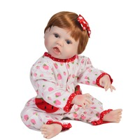 Unique brown hair Reborn Alive Girl Doll Silicone body Realistic Baby Doll with Strawberry clothes 55 cm For Kids bebe gift toy