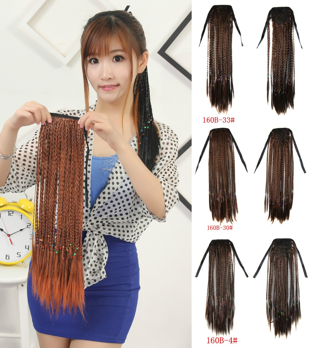 1pcs 19 INCH Long Straight Clip In Ribbon Ponytail braided ...