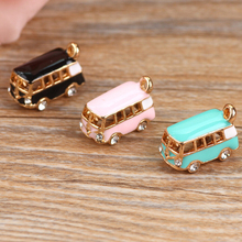 5 pcs/Bag Lovely Bus Pendant Jewelry Accessories Rhinestone BRT Car Enamel Charms Gold Tone Oil Drop DIY Bracelet Floating YZ064